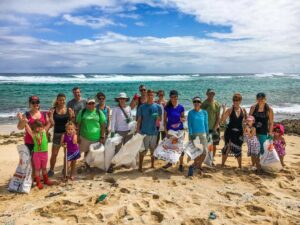 Surf Riders on an Oahu beach on Earth Day 2016